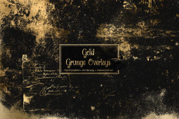 Print on Demand: 40 Gold Grunge Overlays Graphic Textures By Digital Curio