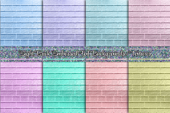 Print on Demand: 8 Brick Embossed Backgrounds or Textures Graphic Backgrounds By AM Digital Designs