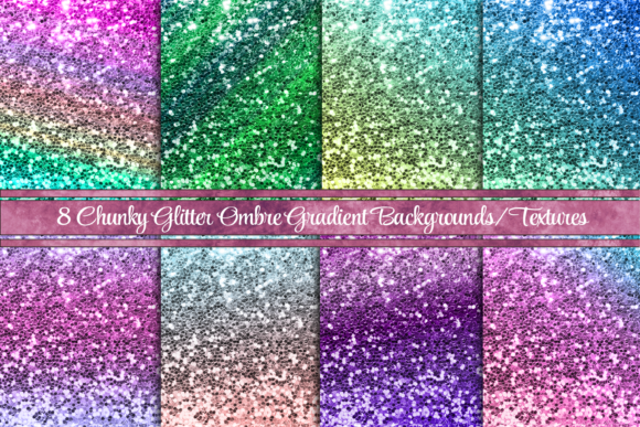 8 Chunky Glitter Backgrounds or Textures Graphic Backgrounds By AM Digital Designs