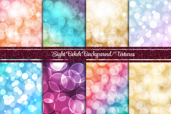Print on Demand: 8 Gradient Bokeh Backgrounds or Textures Graphic Backgrounds By AM Digital Designs