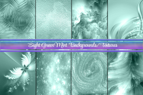 Print on Demand: 8 Mint Green Backgrounds or Textures Graphic Backgrounds By AM Digital Designs