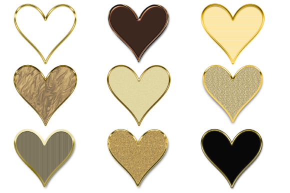 Print on Demand: 9 Golden Embossed Heart Clipart Sticker Graphic Print Templates By AM Digital Designs