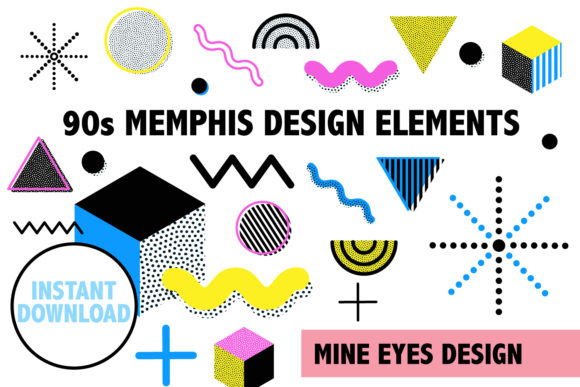 Print on Demand: 90s Memphis Design Elements Graphic Icons By Mine Eyes Design