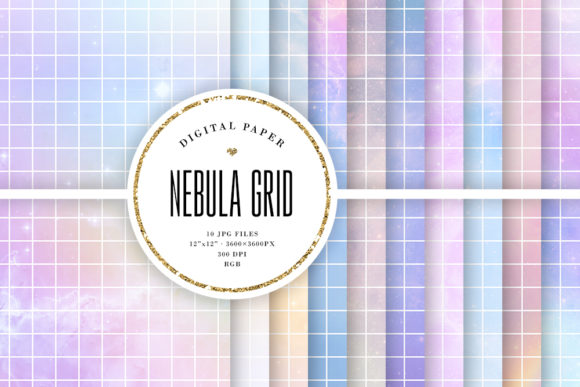 Print on Demand: Aesthetic Pastel Nebula Grid Backgrounds Graphic Backgrounds By Sabina Leja