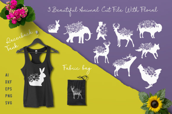 Animal Cut File with Floral Graphic Animals By AllmoStudio