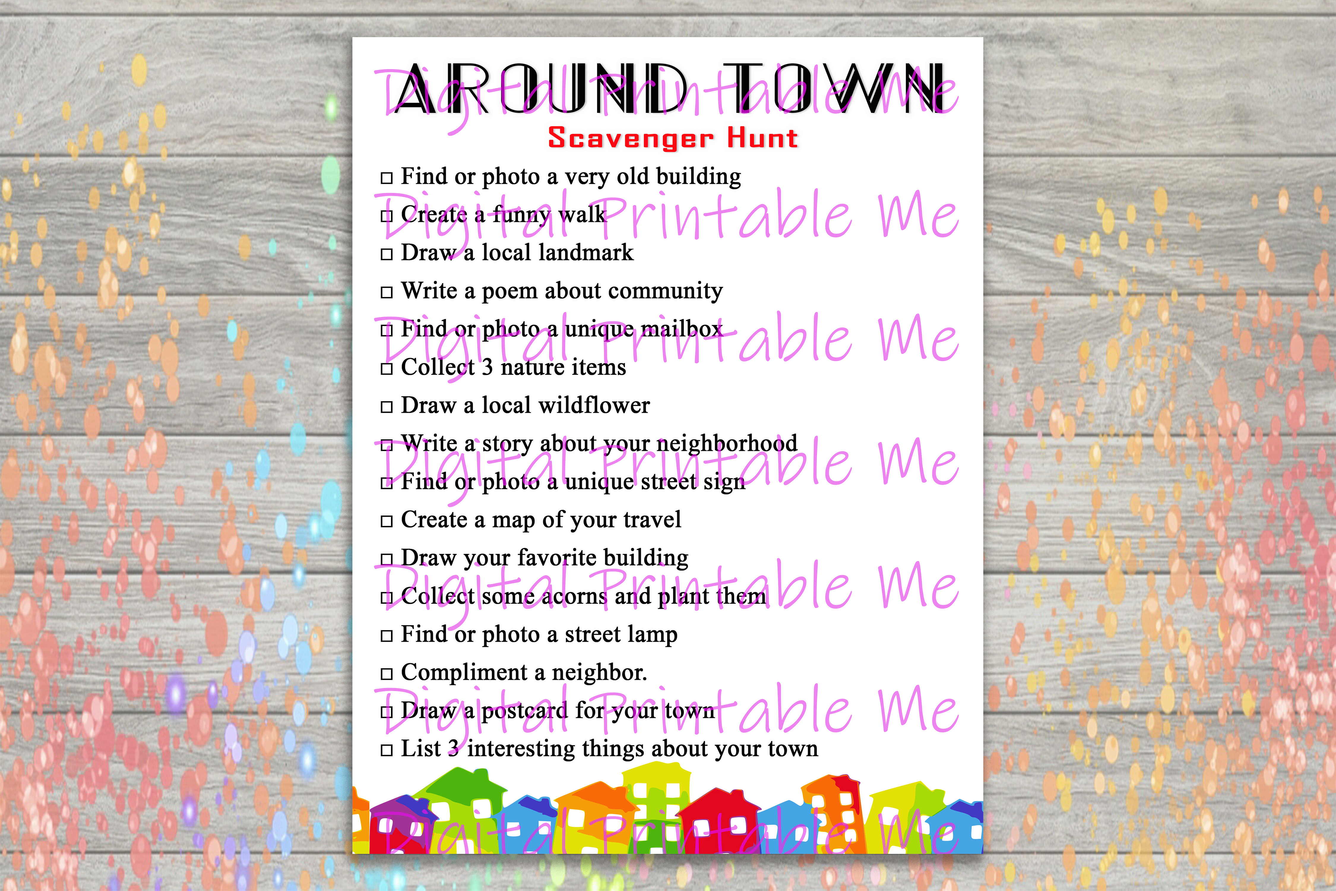 Download Free Around Town Scavenger Hunt Game Kids Graphic By for Cricut Explore, Silhouette and other cutting machines.