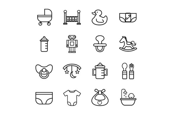 Baby New Born Icon Set - Outline Graphic Icons By icontower