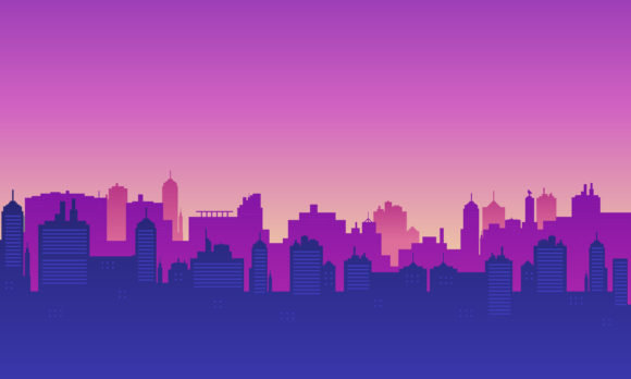Download Free City Silhouette With Panorama Morning Graphic By Cityvector91 for Cricut Explore, Silhouette and other cutting machines.