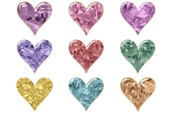 Print on Demand: Beautiful Jeweled Heart Clipart/Stickers Graphic Print Templates By AM Digital Designs
