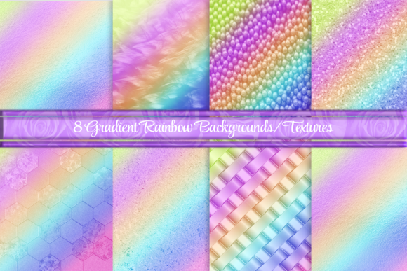 Beautiful Rainbow Gradient Textures Graphic Backgrounds By AM Digital Designs