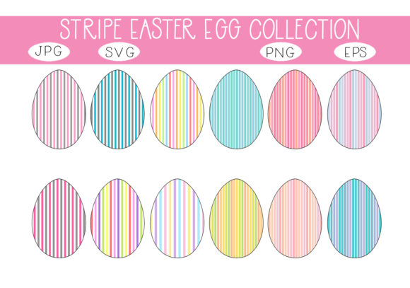 Print on Demand: Beautiful Stripes Easter Egg Collection Gráfico Ilustraciones Por capeairforce