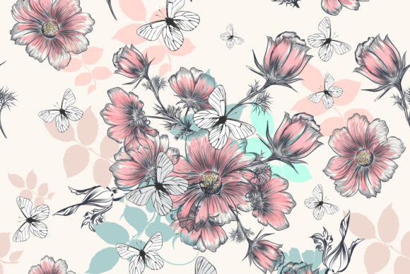 Beautiful Pattern with Hand Drawn Cosmos Grafik Muster von fleurartmariia