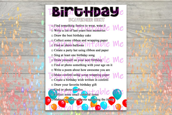 Download Free Birthday Scavenger Hunt Party Game Kids Graphic By for Cricut Explore, Silhouette and other cutting machines.