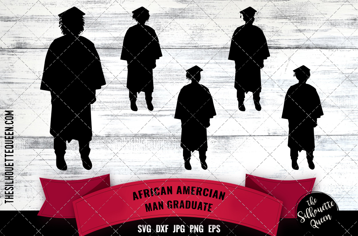 Download Free Black Man Graduate Graphic By Thesilhouettequeenshop Creative for Cricut Explore, Silhouette and other cutting machines.