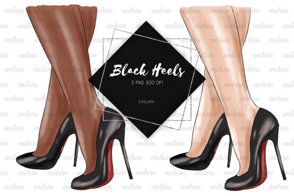 Black Stiletto Black High Heels Shoes Graphic Illustrations By evolara