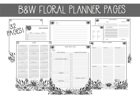 Print on Demand: Black & White Floral Watercolor Planner Graphic Print Templates By capeairforce