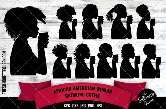 Download Free Black Woman Drinking Coffee Graphic By Thesilhouettequeenshop for Cricut Explore, Silhouette and other cutting machines.