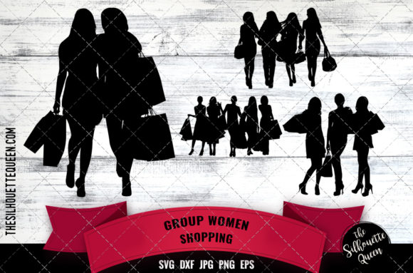 Download Free Black Women Group Shopping Graphic By Thesilhouettequeenshop for Cricut Explore, Silhouette and other cutting machines.
