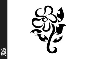 Download Free Black Flower Tribal Tattoo Design Graphic By Arief Sapta Adjie for Cricut Explore, Silhouette and other cutting machines.