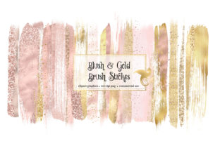 Print on Demand: Blush and Gold Brush Strokes Clipart Graphic Illustrations By Digital Curio