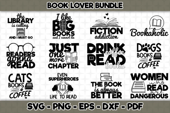 Print on Demand: Book Lover Bundle 12 Designs Gráfico Crafts Por SVGExpress
