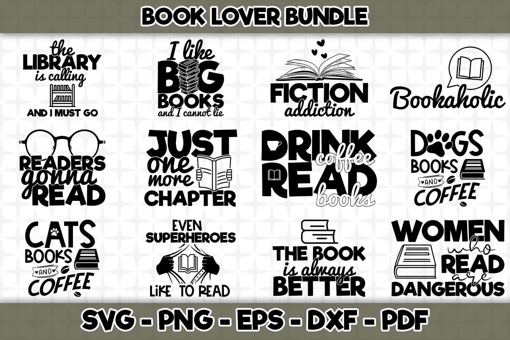 Download Book Lover Bundle 12 Designs (Graphic) by SVGExpress ...