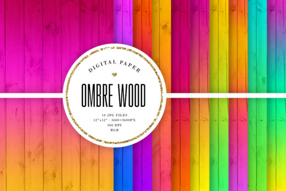 Print on Demand: Bright Colorful Ombre Wood Backgrounds Graphic Backgrounds By Sabina Leja