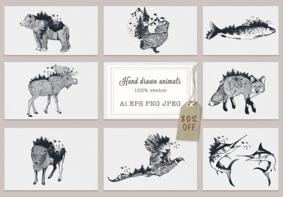 Bundle Artistic Vector Hand Drawn Animal Graphic Illustrations By fleurartmariia - Image 1