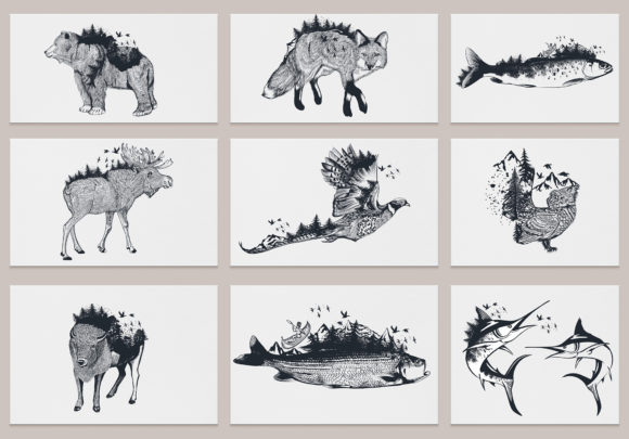 Bundle Artistic Vector Hand Drawn Animal Graphic Illustrations By fleurartmariia - Image 2