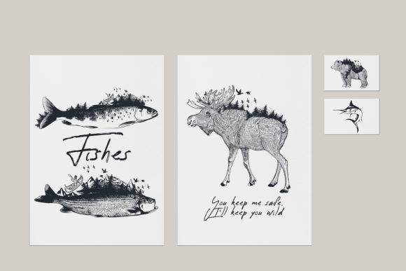 Bundle Artistic Vector Hand Drawn Animal Graphic Illustrations By fleurartmariia - Image 4