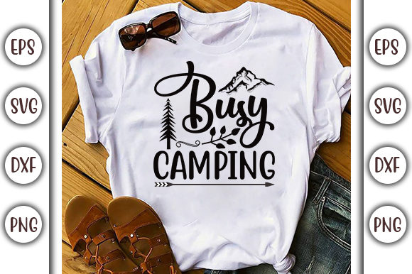 Print on Demand: Busy Camping, Adventure Design Graphic Print Templates By GraphicsBooth