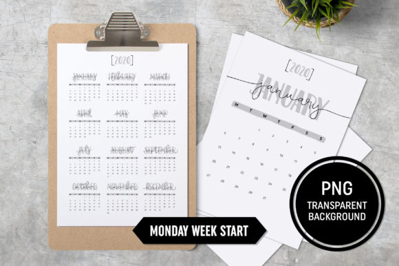 Calendar 2020 A4 Monday Start Grafik Druck-Templates von ZoollGraphics
