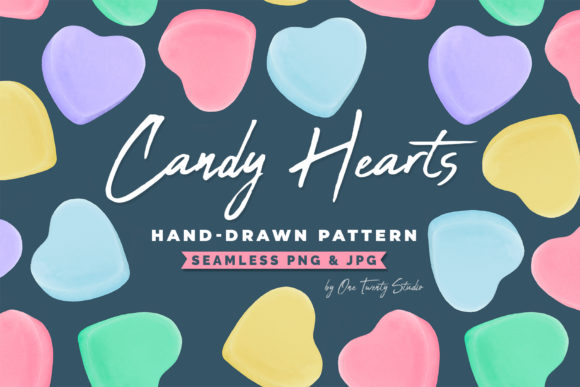 Candy Hearts Handdrawn Digital Papers Graphic Backgrounds By One Twenty Studio