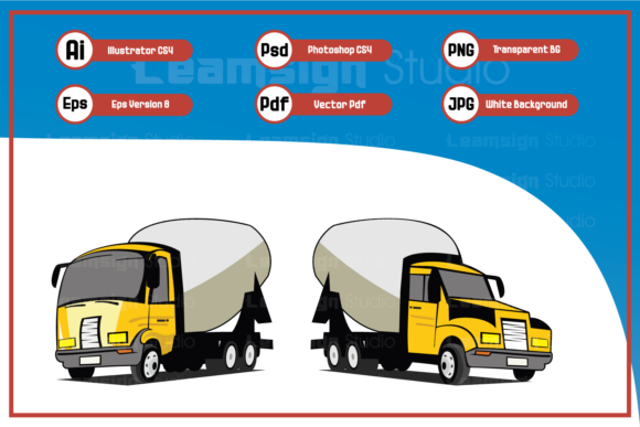 Print on Demand: Cartoon Illustration Concrete Trucks Graphic Icons By leamsign