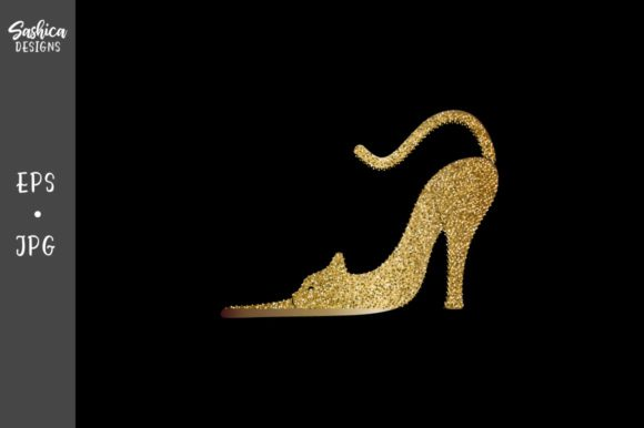 Cat in Form of Glitter High Heals Shoes Graphic Illustrations By sashica designs