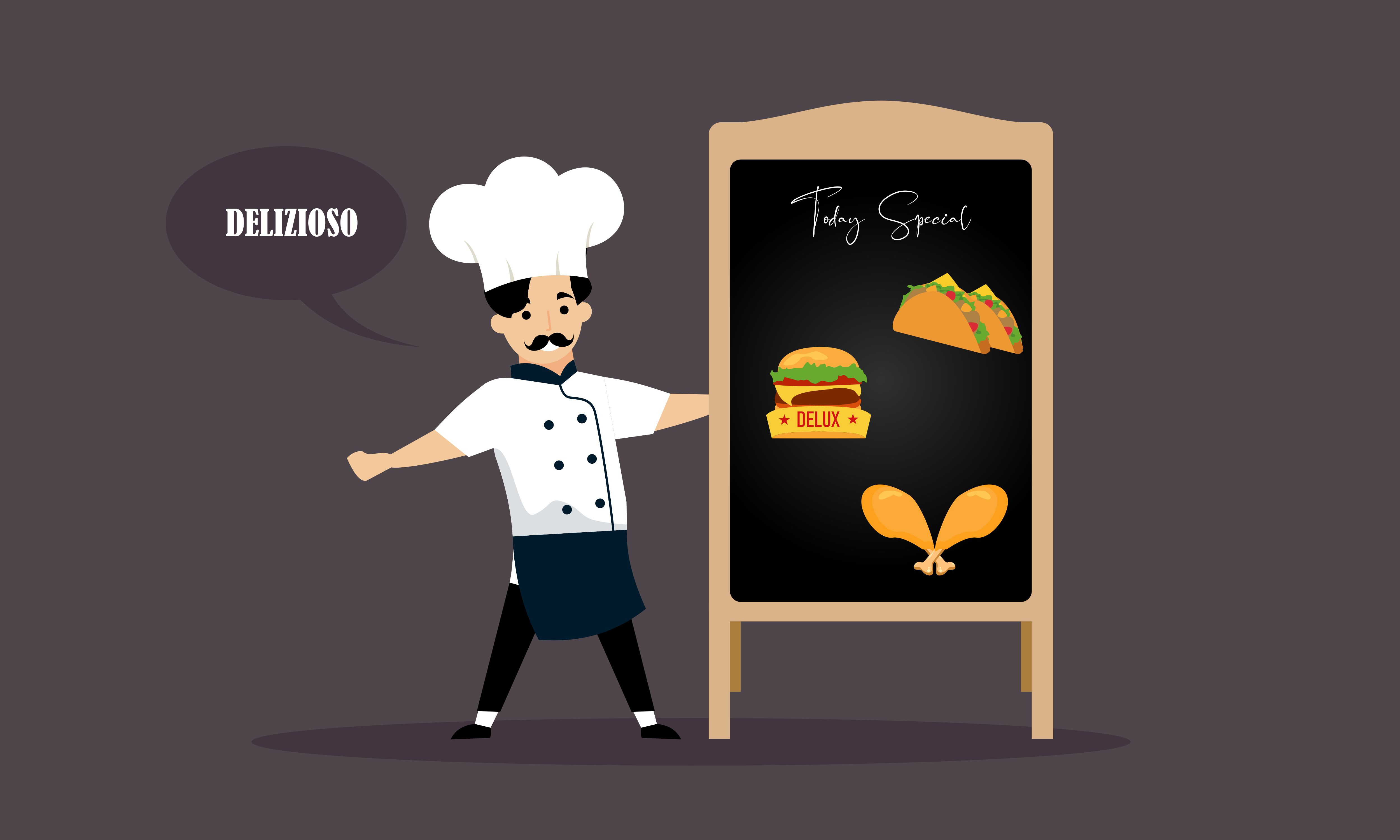 Download Free Chef Character With A Delicious Dish Graphic By Deemka Studio for Cricut Explore, Silhouette and other cutting machines.