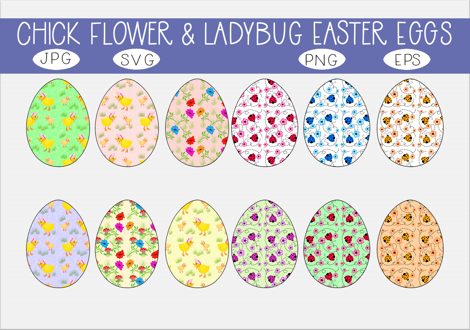Download Free Chicks Flowers Ladybugs Easter Eggs Graphic By Capeairforce for Cricut Explore, Silhouette and other cutting machines.