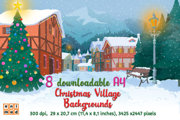 Download Free Christmas Village Backgrounds Graphic By Animaddesign Creative for Cricut Explore, Silhouette and other cutting machines.