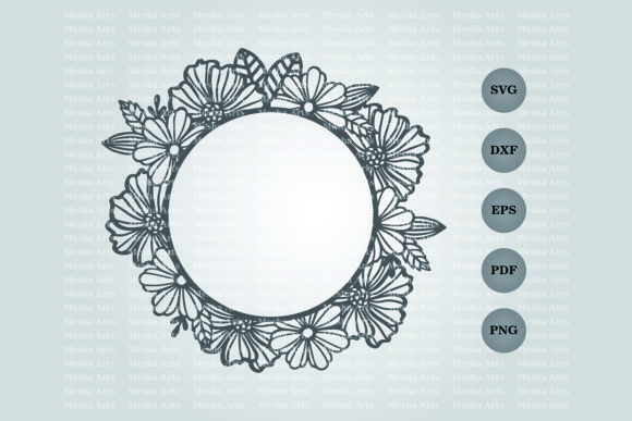 Circle Floral Frame Paper Cut Design Graphic By Meshaarts