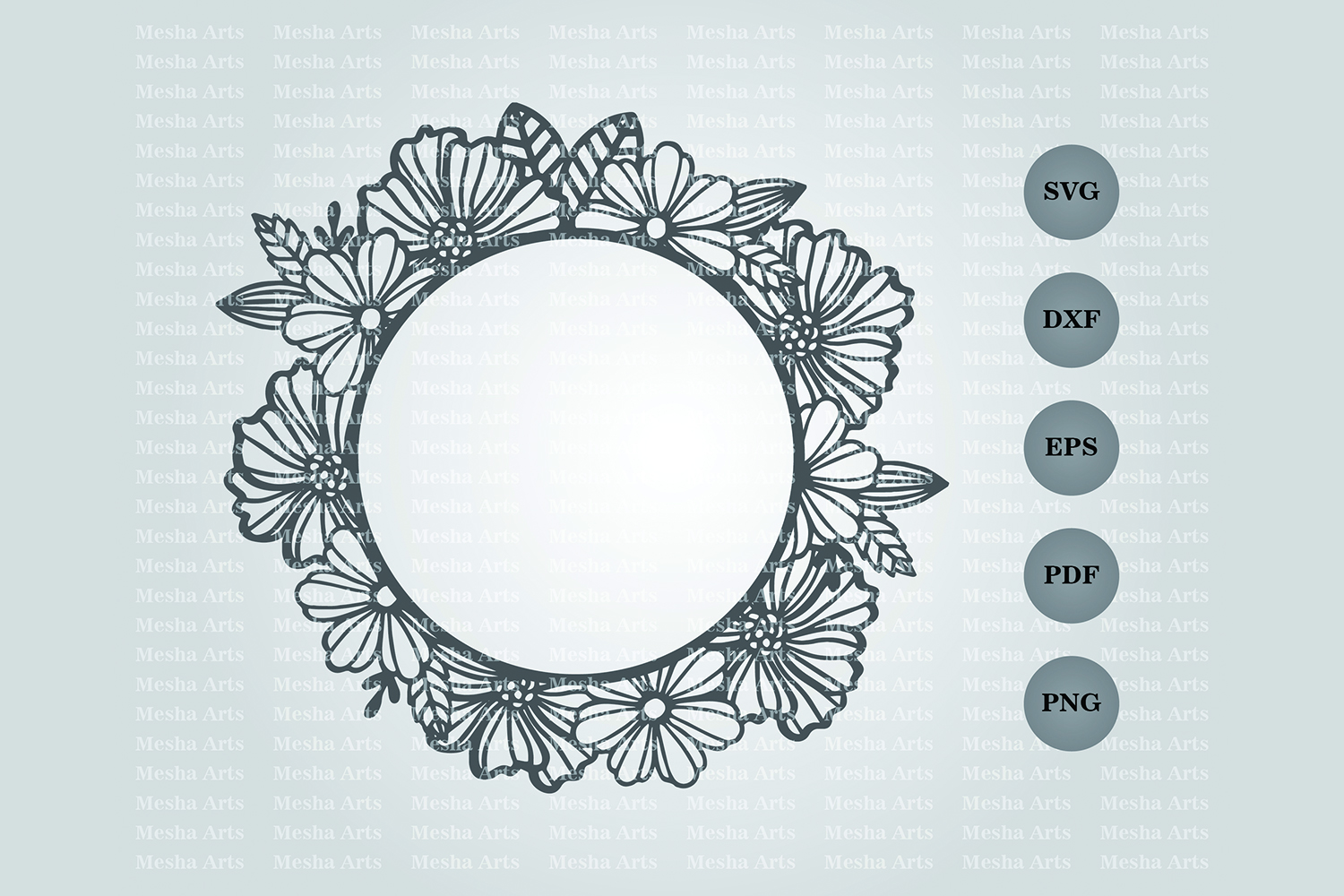 Download Free Circle Floral Frame Paper Cut Design Graphic By Meshaarts for Cricut Explore, Silhouette and other cutting machines.