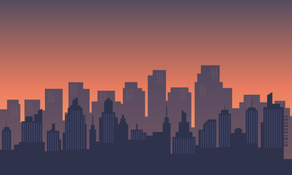 Download Free City In The Morning With Sunrise Graphic By Cityvector91 for Cricut Explore, Silhouette and other cutting machines.