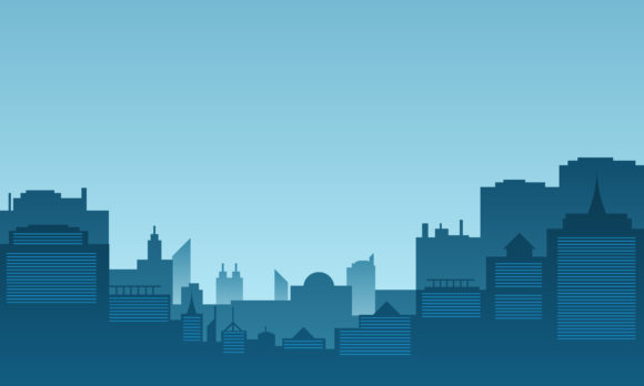 Download Free City Silhouette With Many Tall Buildings Graphic By Cityvector91 for Cricut Explore, Silhouette and other cutting machines.