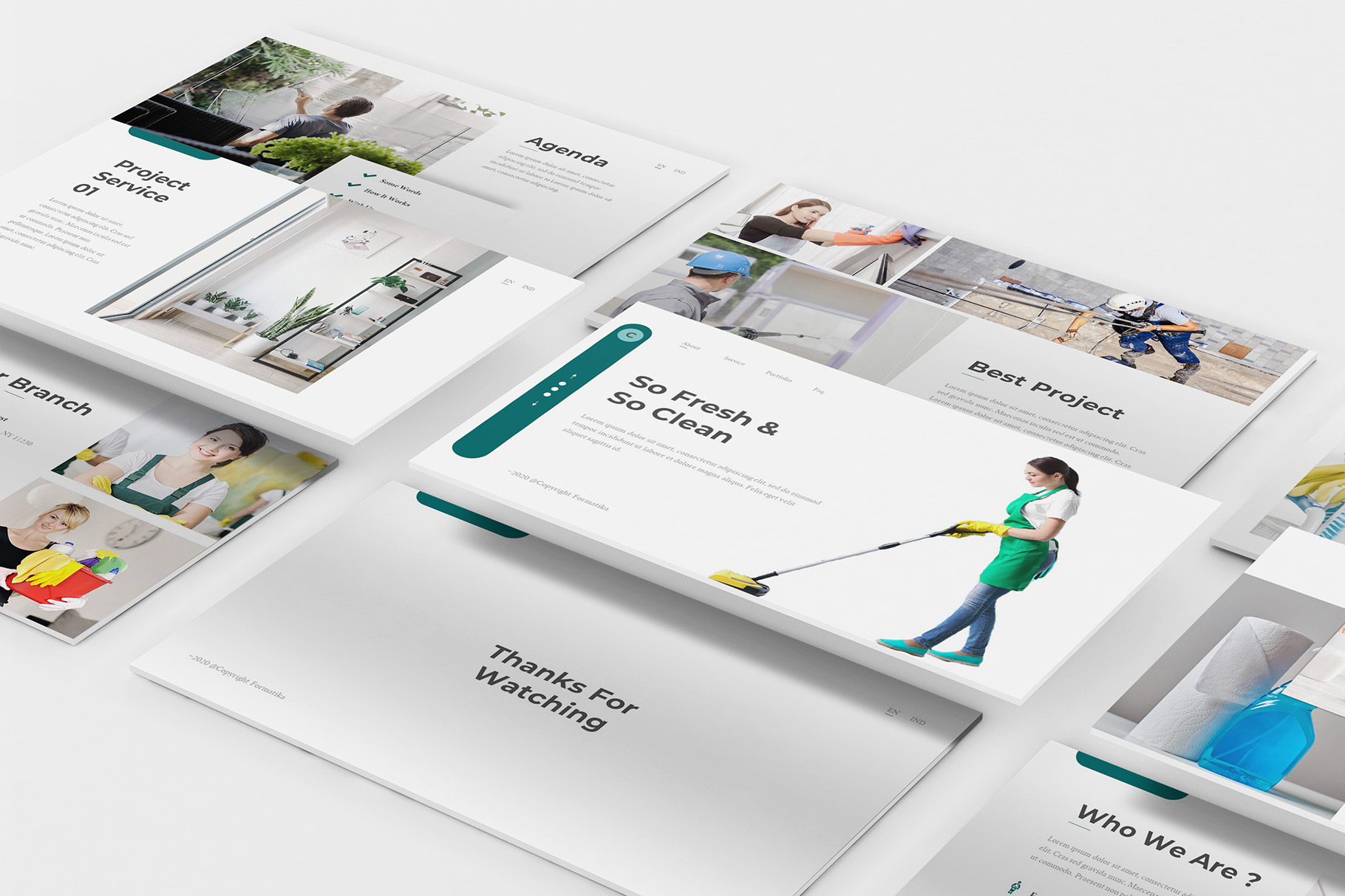 Download Free Cleaning Service Powerpoint Template Graphic By Formatikastd for Cricut Explore, Silhouette and other cutting machines.
