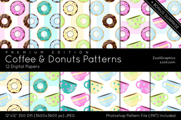 Download Free Coffee And Donuts Digital Papers Graphic By Zoollgraphics for Cricut Explore, Silhouette and other cutting machines.