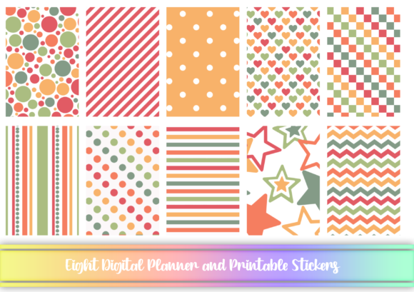 Print on Demand: Colored Digital and Printable Stickers Graphic Print Templates By AM Digital Designs