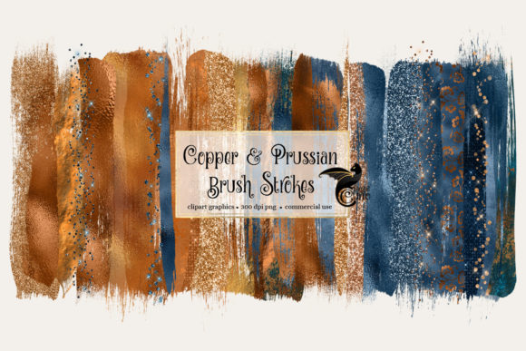 Print on Demand: Copper and Prussian Brush Strokes Graphic Illustrations By Digital Curio