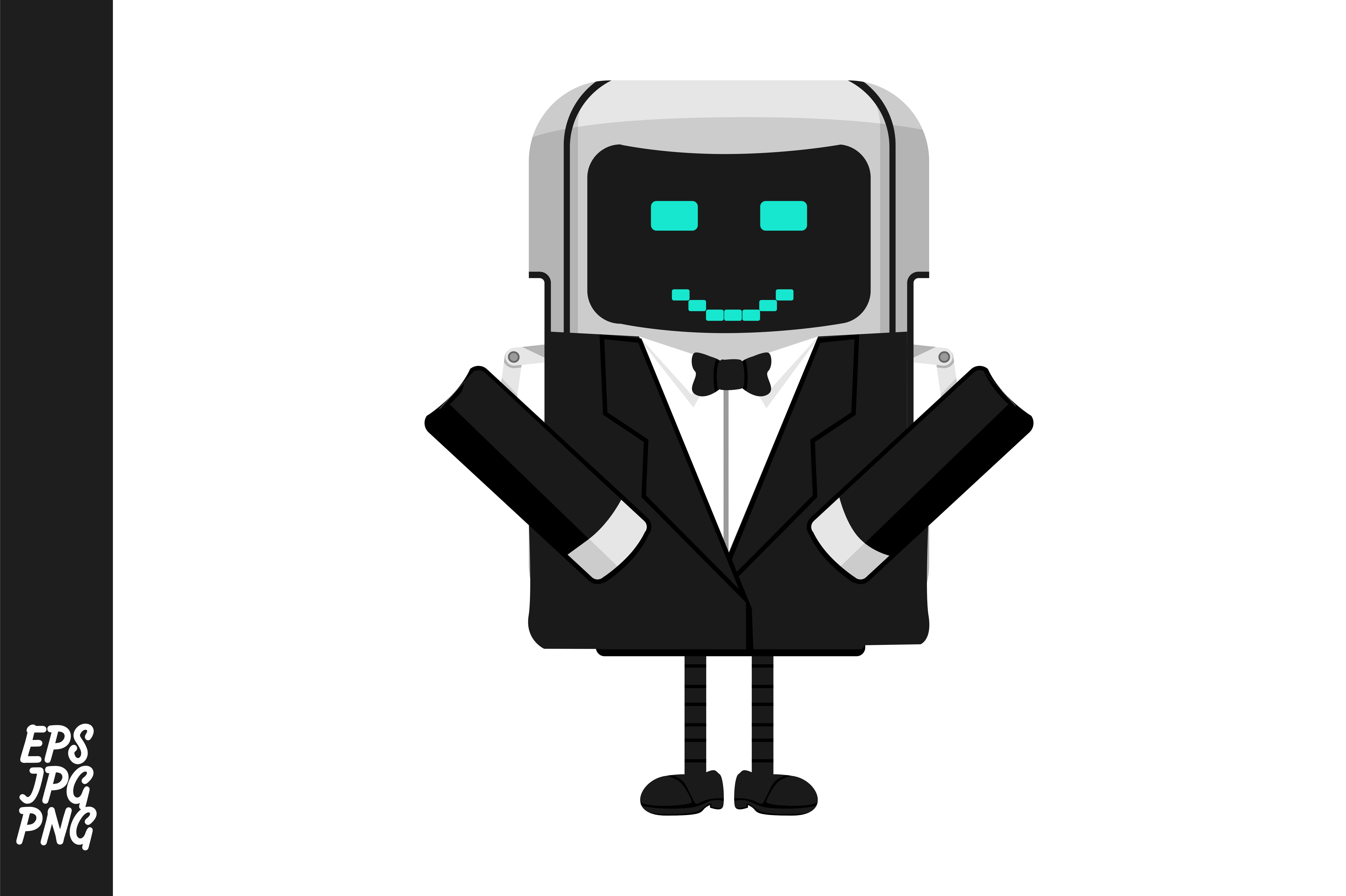 Cute Cartoon Robot Butler Vector Graphic By Arief Sapta Adjie Creative Fabrica