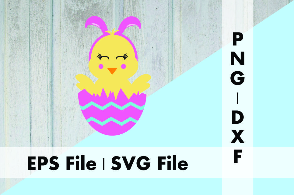Download Free Cute Chick In Egg With Bunny Ears Design Graphic By Deespana for Cricut Explore, Silhouette and other cutting machines.