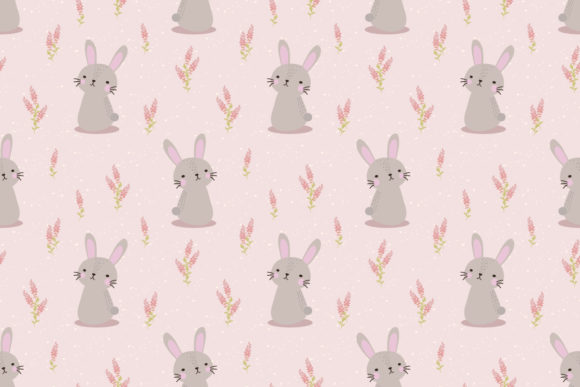 Download Free Cute Bunny And Flower Seamless Pattern Graphic By Thanaporn Pinp for Cricut Explore, Silhouette and other cutting machines.