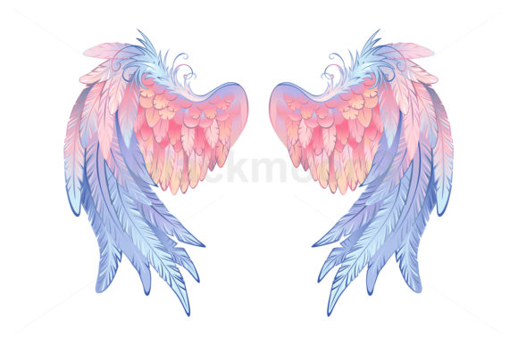 Download Free Delicate Angel Wings Graphic By Blackmoon9 Creative Fabrica for Cricut Explore, Silhouette and other cutting machines.
